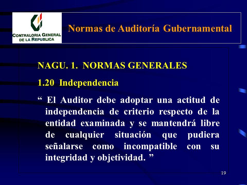18 NAGU. 1. NORMAS GENERALES 1.10 Entrenamiento Técnico y Capacidad Profesional Busca: Asegurar la calidad de trabajo del Auditor. Medios: Programas d