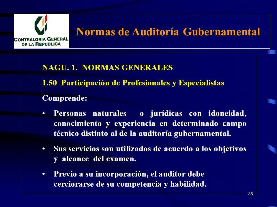 28 NAGU. 1. NORMAS GENERALES 1.50 Participación de Profesionales y Especialistas Integrarán los equipos de auditoría, en calidad de apoyo, los profesi