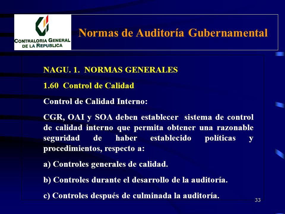 32 NAGU. 1. NORMAS GENERALES 1.60 Control de Calidad Comprende: Conjunto de políticas, procedimientos y recursos técnicos especializados implementados