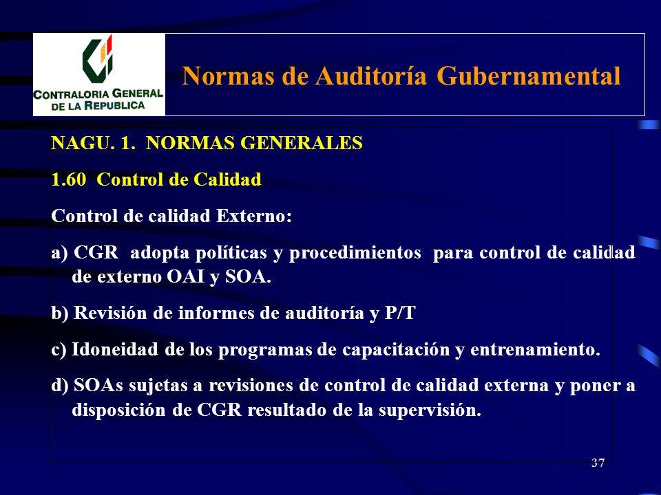 36 NAGU. 1. NORMAS GENERALES 1.60 Control de Calidad El sistema interno de control de calidad, comprende Controles posteriores a la auditoría: Polític