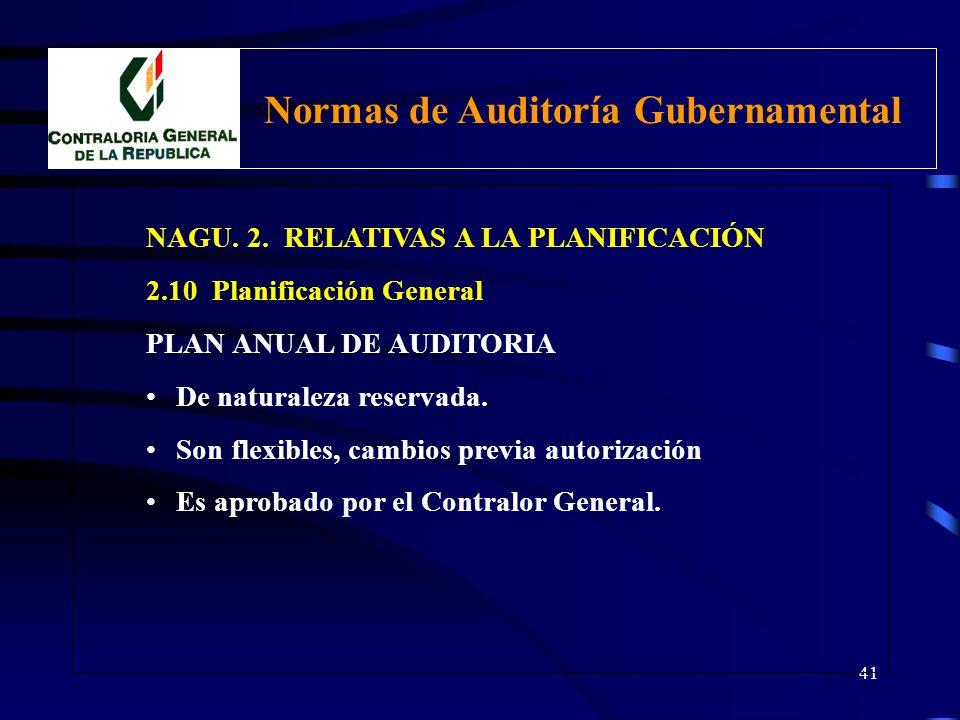 40 NAGU. 2. RELATIVAS A LA PLANIFICACIÓN 2.10 Planificación General PLAN ANUAL DE AUDITORIA Contiene el conjunto de actividades de auditoría y el univ