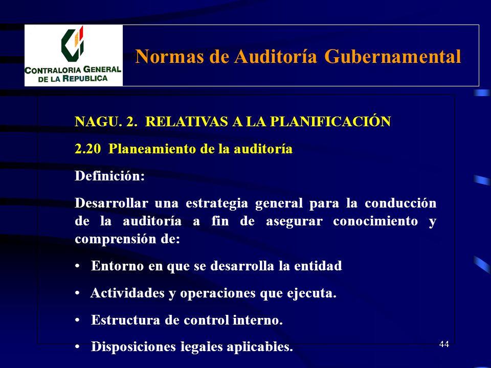 43 NAGU. 2. RELATIVAS A LA PLANIFICACIÓN 2.20 Planeamiento de Auditoría El trabajo del auditor debe ser cuidadosamente planificado a fin de asegurar l