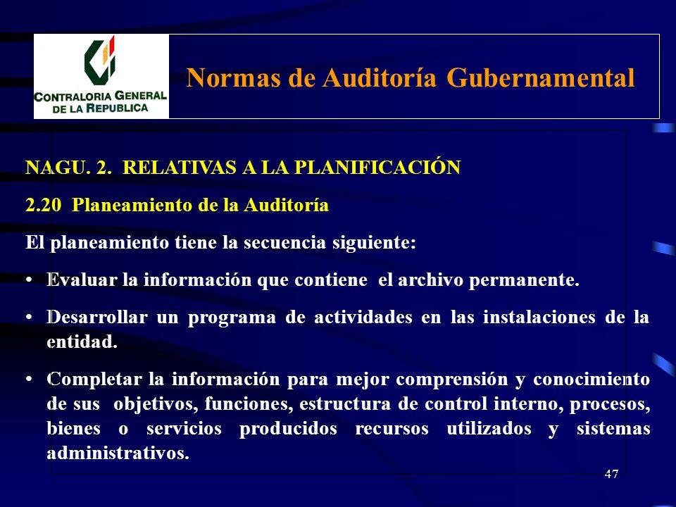 46 NAGU. 2. RELATIVAS A LA PLANIFICACIÓN 2.20 Planeamiento de la Auditoría Debe incluir: Revisión de la información sobre la gestión en relación a los