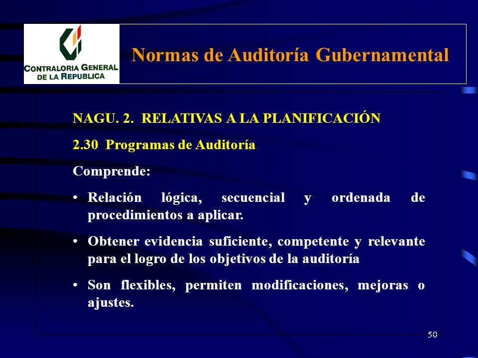 49 NAGU. 2. RELATIVAS A LA PLANIFICACIÓN 2.30 Programas de Auditoría Para cada auditoría gubernamental deben prepararse programas específicos que incl