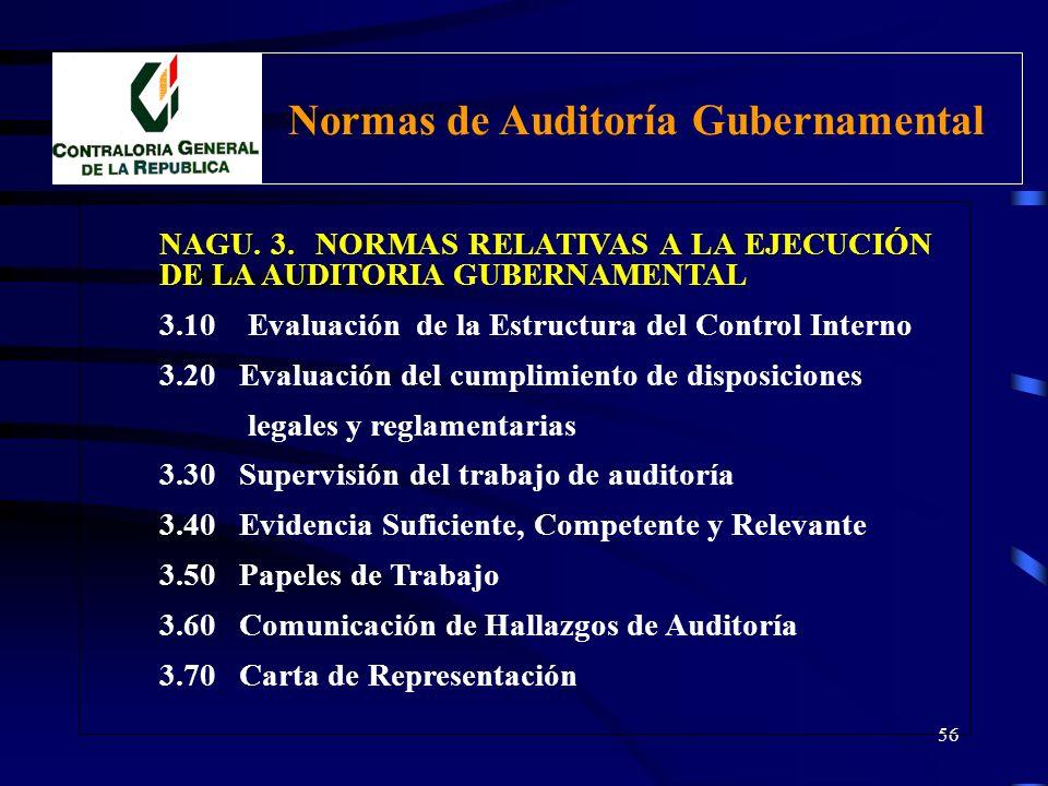55 NAGU. 3. NORMAS RELATIVAS A LA EJECUCIÓN DE LA AUDITORÍA GUBERNAMENTAL Normas utilizadas en la realización de auditoría, cuyo propósito es, estable