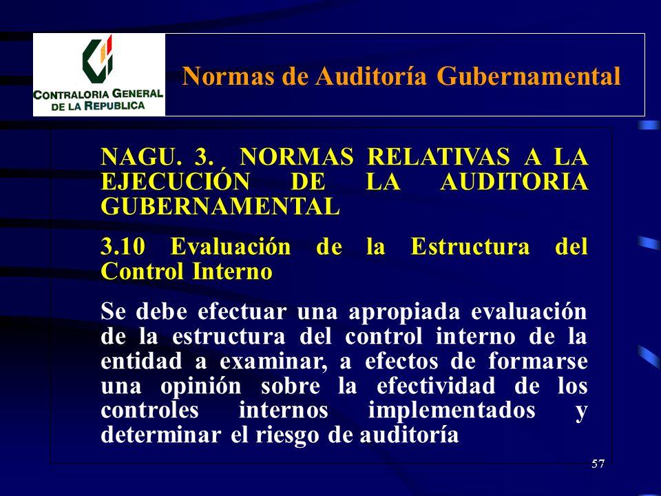 56 NAGU. 3. NORMAS RELATIVAS A LA EJECUCIÓN DE LA AUDITORIA GUBERNAMENTAL 3.10 Evaluación de la Estructura del Control Interno 3.20 Evaluación del cum