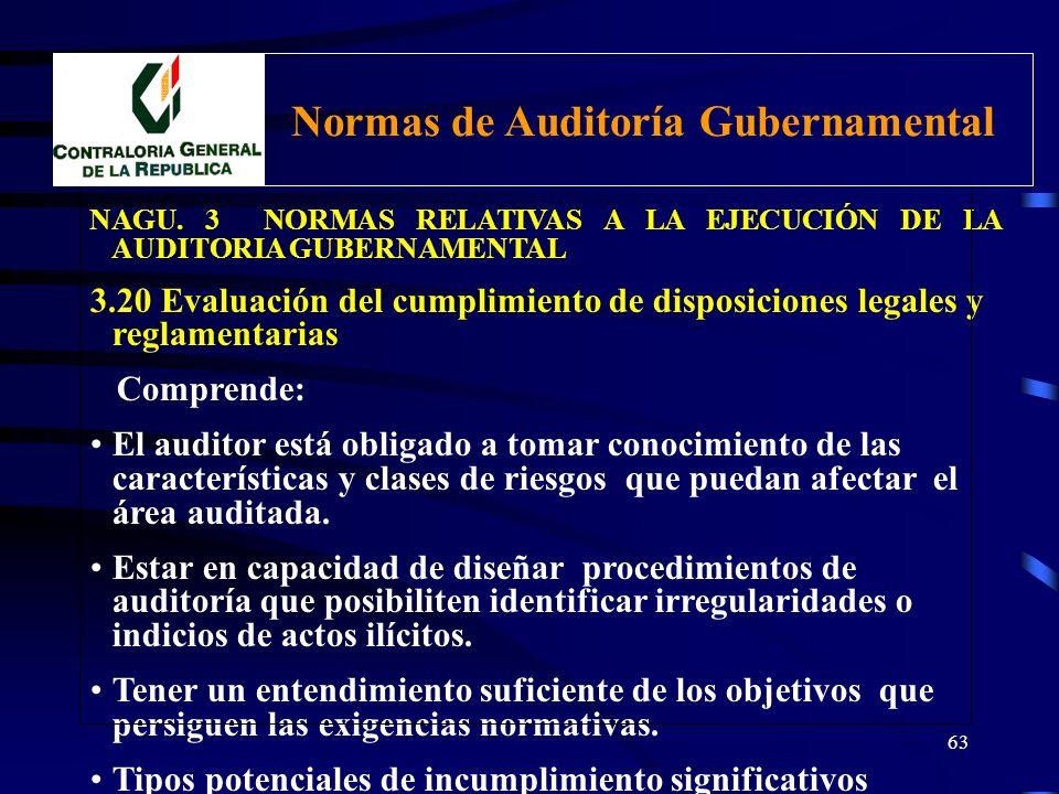 62 NAGU. 3 NORMAS RELATIVAS A LA EJECUCIÓN DE LA AUDITORIA GUBERNAMENTAL 3.20 Evaluación del cumplimiento de disposiciones legales y reglamentarias Co