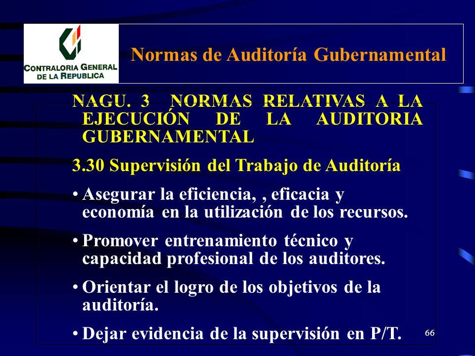65 NAGU. 3 NORMAS RELATIVAS A LA EJECUCIÓN DE LA AUDITORIA GUBERNAMENTAL 3.30 Supervisión del Trabajo de Auditoría Dirigir y controlar las actividades