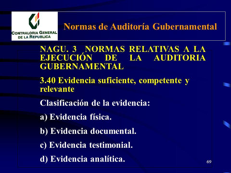 68 NAGU. 3 NORMAS RELATIVAS A LA EJECUCIÓN DE LA AUDITORIA GUBERNAMENTAL 3.40 Evidencia suficiente, competente y relevante Características de la evide