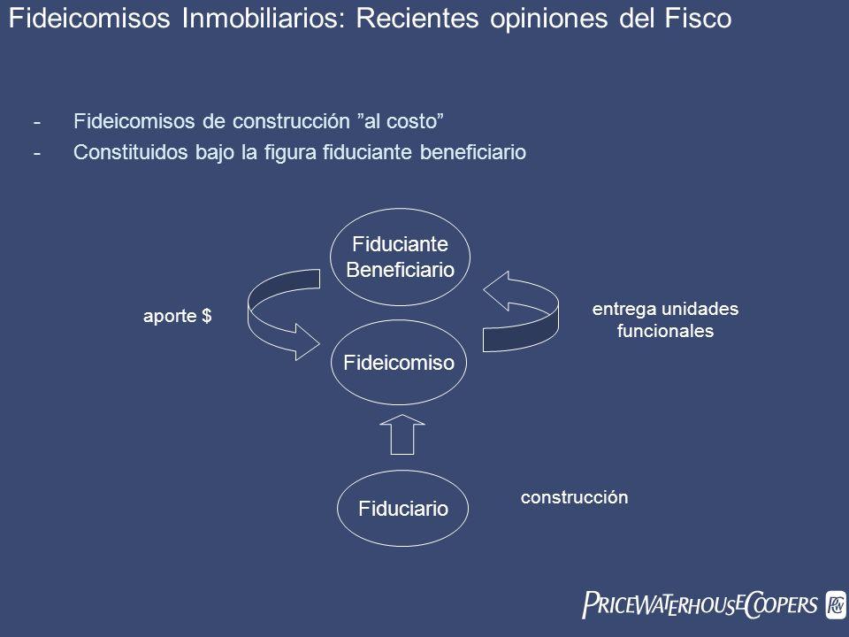 Fideicomisos Inmobiliarios: Recientes opiniones del Fisco - Fideicomisos de construcción al costo - Constituidos bajo la figura fiduciante beneficiari