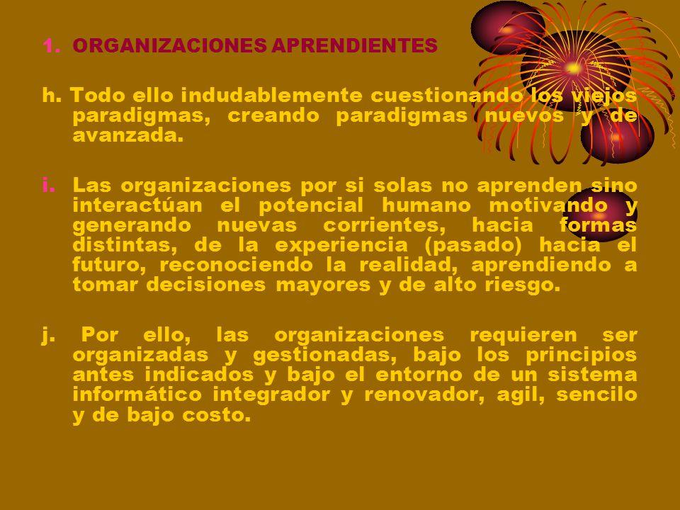 1.ORGANIZACIONES APRENDIENTES Organización que dispone de capacidades superiores para captar, mejorar e innovar. e. Adaptación a los cambios, una form