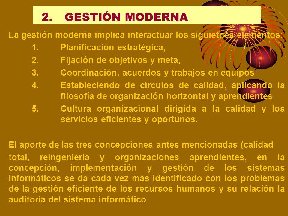2.GESTIÓN MODERNA La concepción de la Gestión moderna implica desarrollar y aplicar los aportes de las teorías y bondades de las nueva teorías organiz