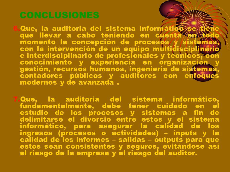 CONCLUSIONES 3.Que, los procesos o actividades de las empresas o instituciones se gestionan por los sistemas: sistema de producción; sistema de organi