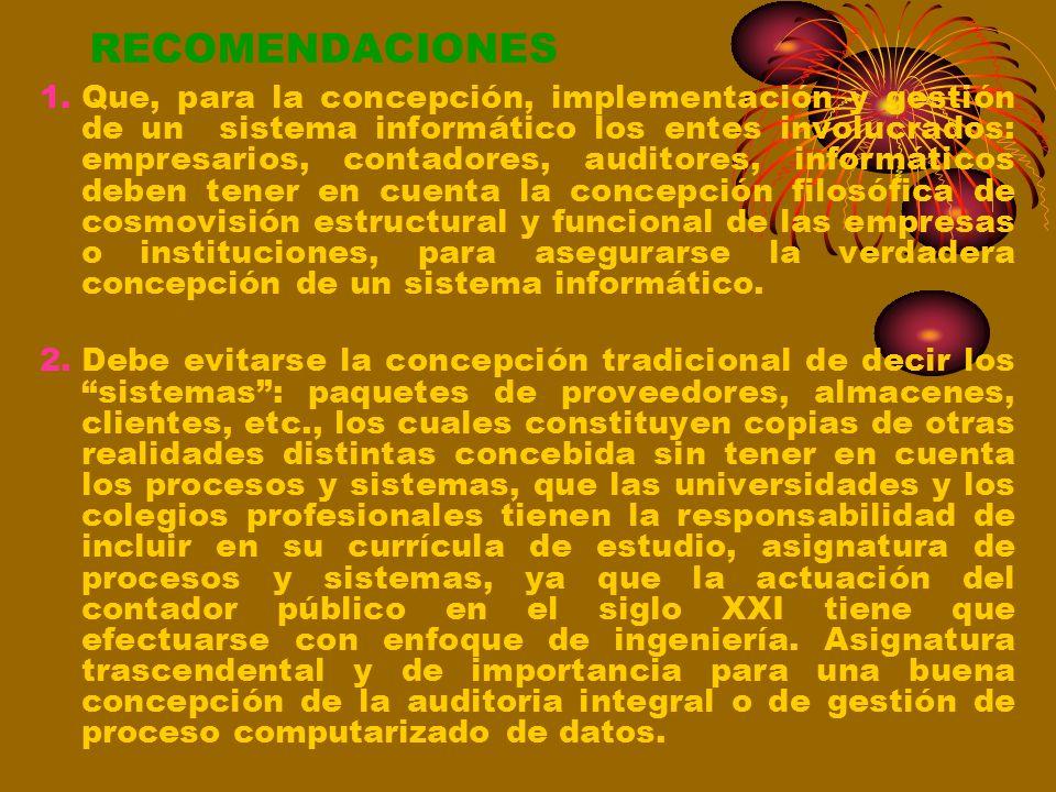 CONCLUSIONES 6.Que, la auditoria del sistema informático se tiene que llevar a cabo teniendo en cuenta en todo momento la concepción de procesos y sis