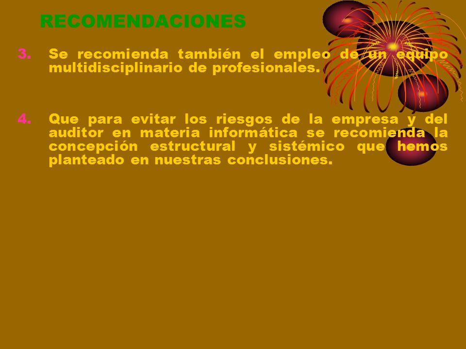 RECOMENDACIONES 1.Que, para la concepción, implementación y gestión de un sistema informático los entes involucrados: empresarios, contadores, auditor