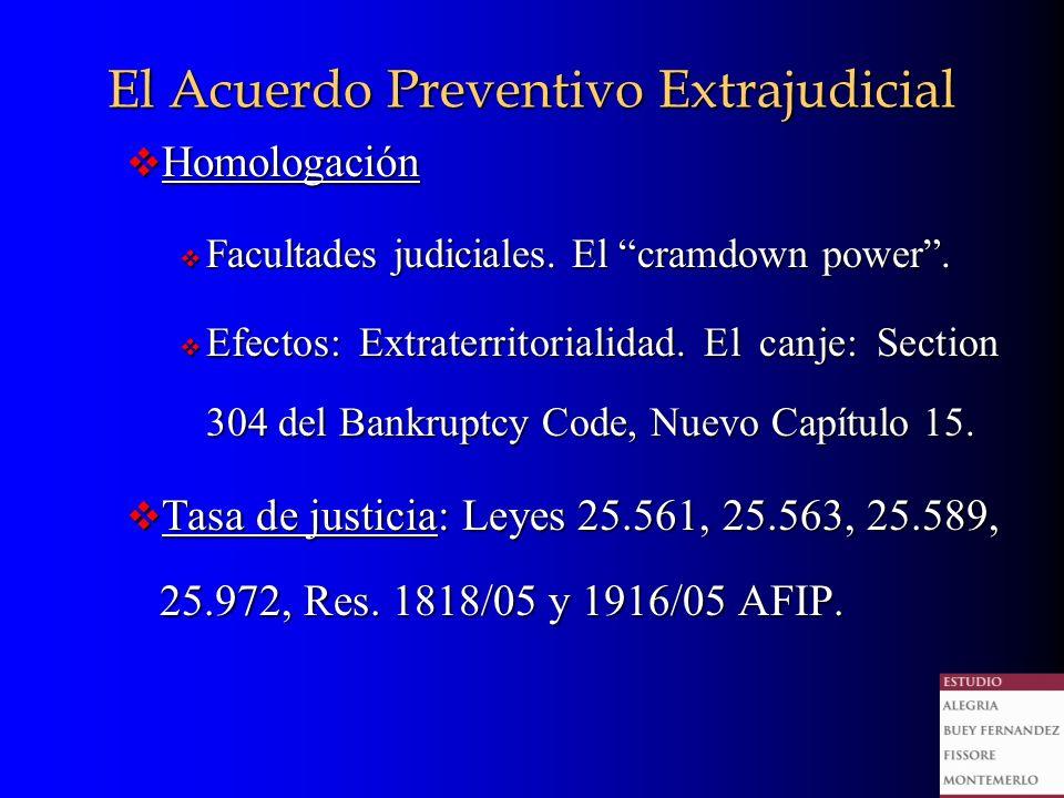 El Acuerdo Preventivo Extrajudicial Homologación Homologación Facultades judiciales.