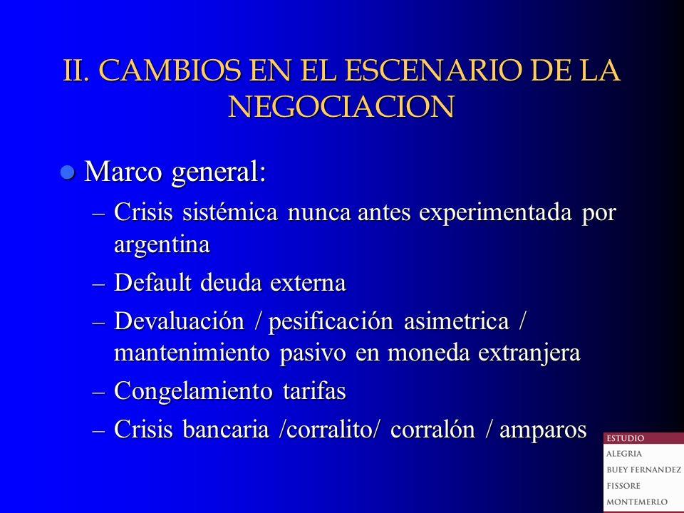 II. CAMBIOS EN EL ESCENARIO DE LA NEGOCIACION Marco general: Marco general: – Crisis sistémica nunca antes experimentada por argentina – Default deuda
