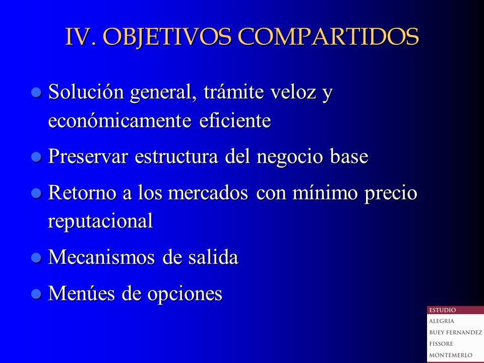IV. OBJETIVOS COMPARTIDOS Solución general, trámite veloz y económicamente eficiente Solución general, trámite veloz y económicamente eficiente Preser