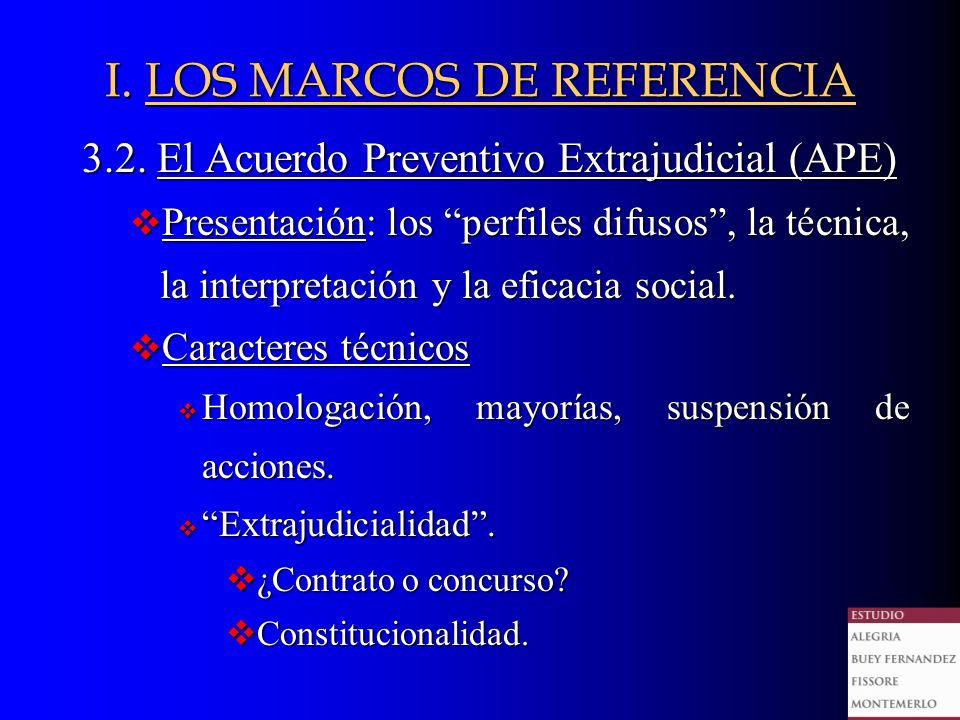 3.2. El Acuerdo Preventivo Extrajudicial (APE) v Presentación: los perfiles difusos, la técnica, la interpretación y la eficacia social. v Caracteres