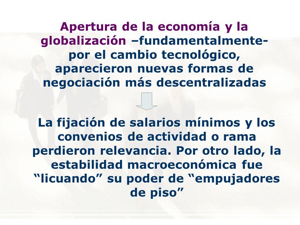 Apertura de la economía y la globalización –fundamentalmente- por el cambio tecnológico, aparecieron nuevas formas de negociación más descentralizadas La fijación de salarios mínimos y los convenios de actividad o rama perdieron relevancia.