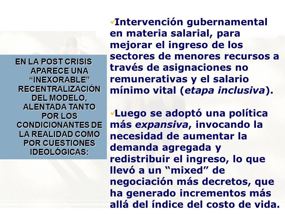 Intervención gubernamental en materia salarial, para mejorar el ingreso de los sectores de menores recursos a través de asignaciones no remunerativas y el salario mínimo vital (etapa inclusiva).