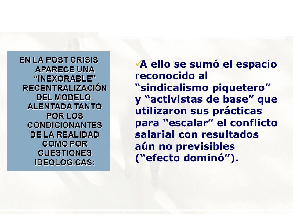 A ello se sumó el espacio reconocido al sindicalismo piquetero y activistas de base que utilizaron sus prácticas para escalar el conflicto salarial con resultados aún no previsibles (efecto dominó).