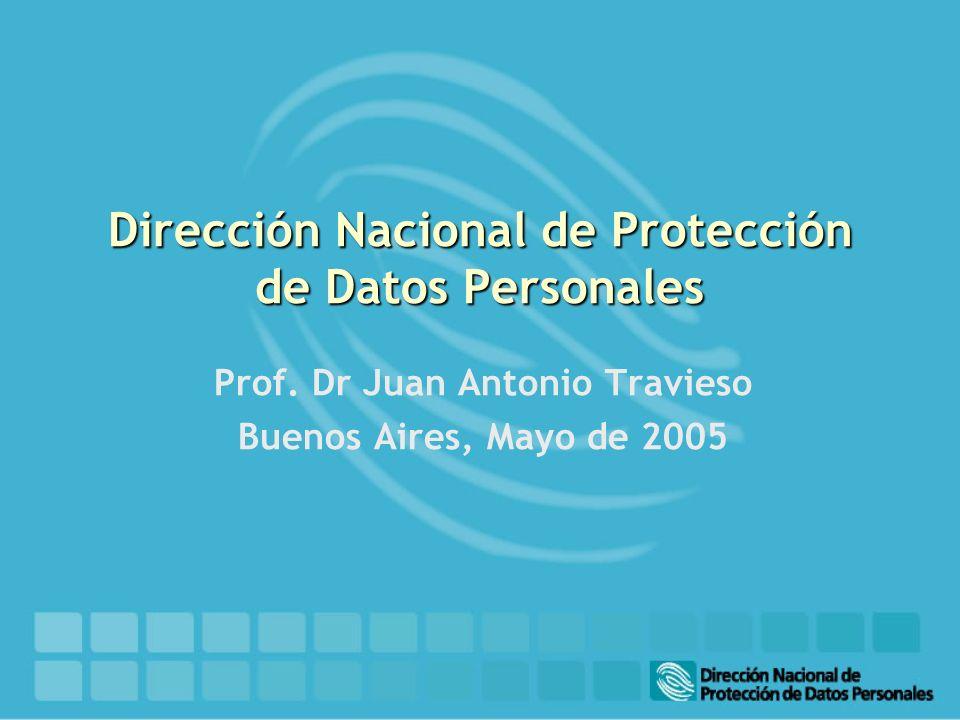 Dirección Nacional de Protección de Datos Personales Prof. Dr Juan Antonio Travieso Buenos Aires, Mayo de 2005