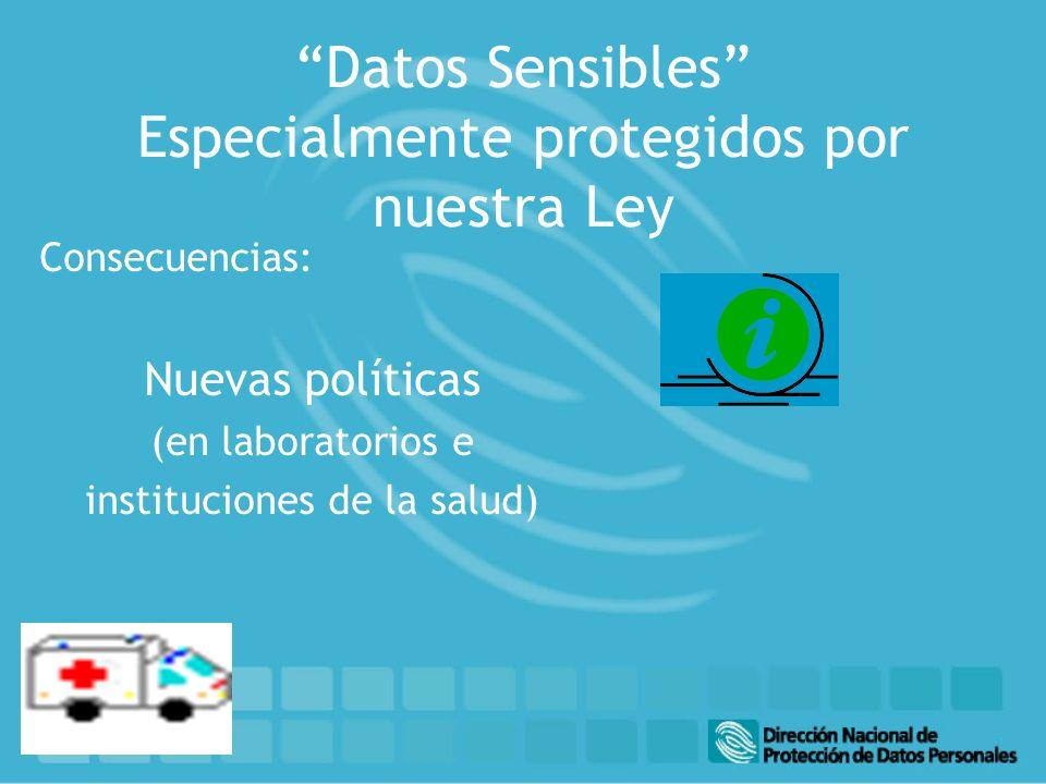 Datos Sensibles Especialmente protegidos por nuestra Ley Consecuencias: Nuevas políticas (en laboratorios e instituciones de la salud)