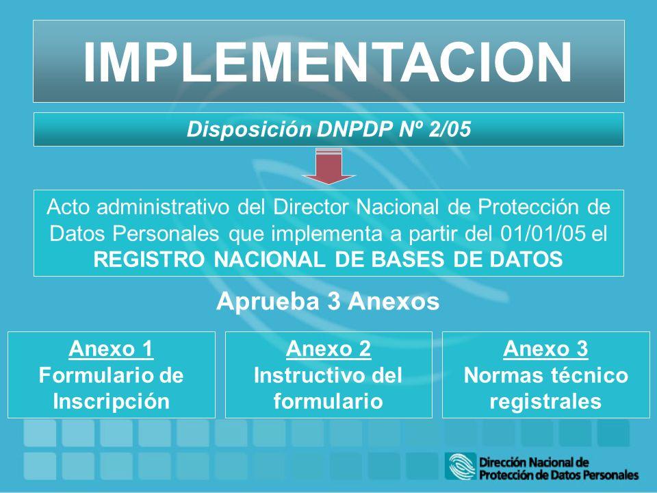 Acto administrativo del Director Nacional de Protección de Datos Personales que implementa a partir del 01/01/05 el REGISTRO NACIONAL DE BASES DE DATO
