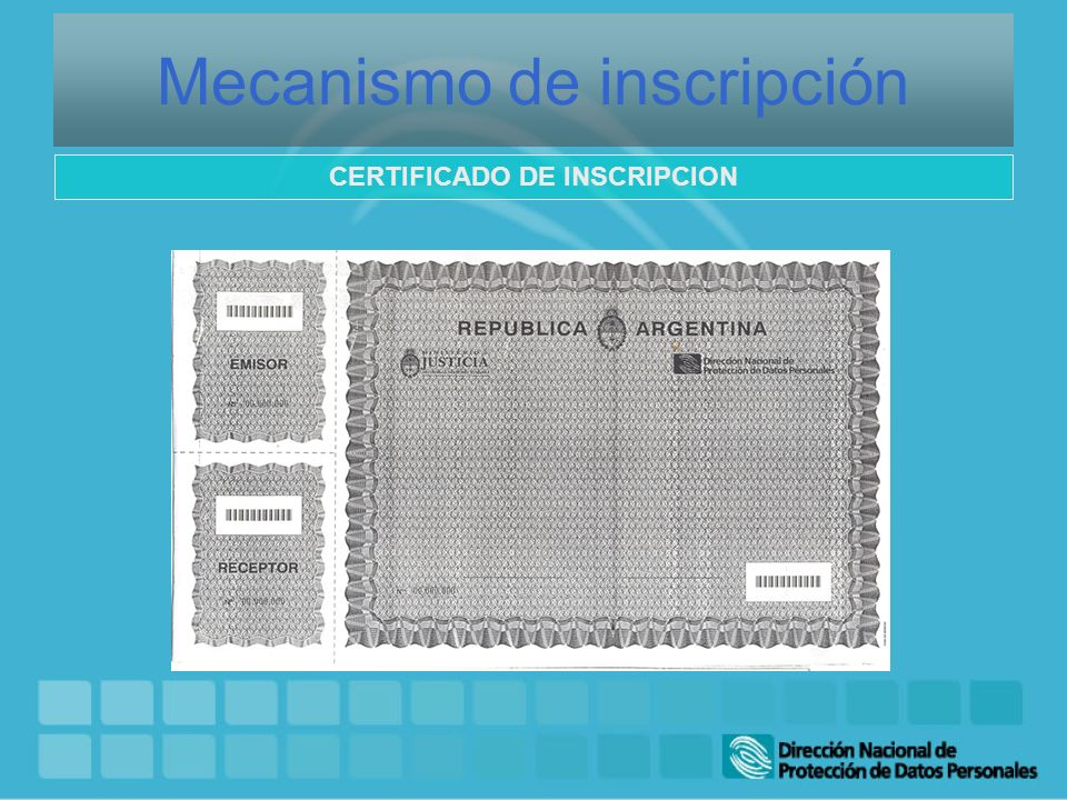Mecanismo de inscripción CERTIFICADO DE INSCRIPCION