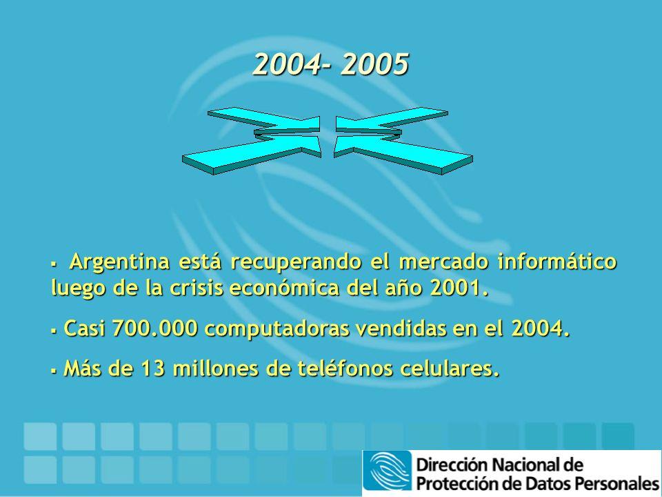 2004- 2005 Argentina está recuperando el mercado informático luego de la crisis económica del año 2001. Argentina está recuperando el mercado informát