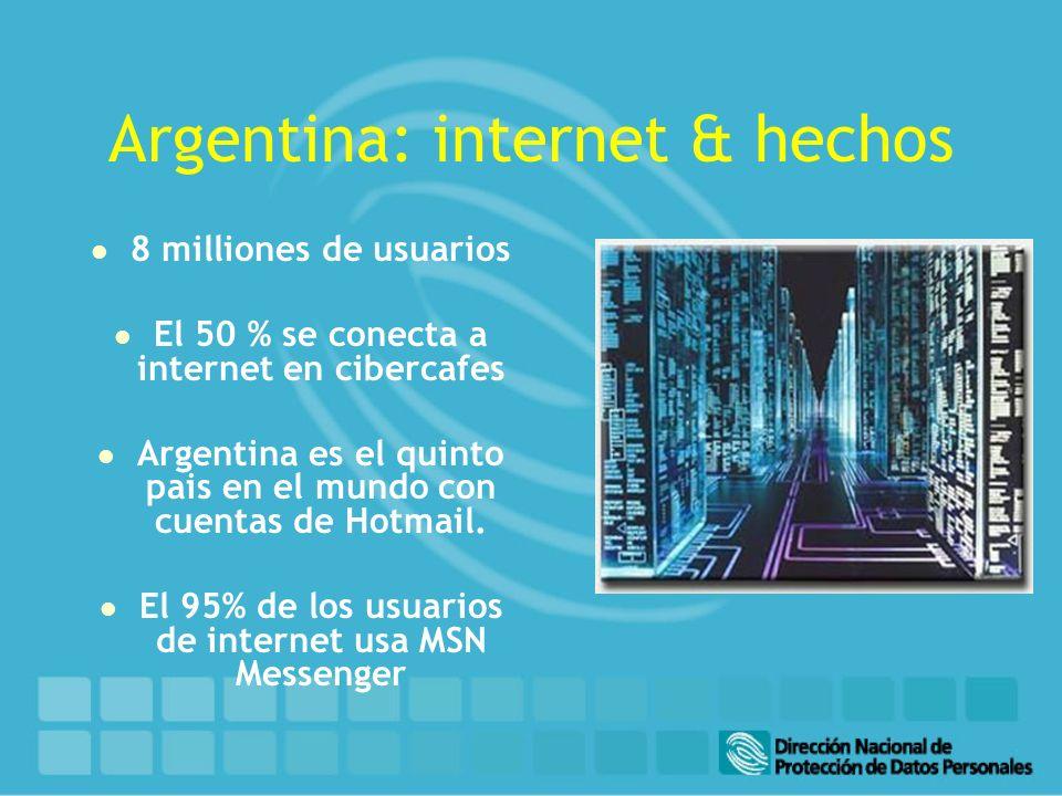 Argentina: internet & hechos l 8 milliones de usuarios l El 50 % se conecta a internet en cibercafes l Argentina es el quinto pais en el mundo con cuentas de Hotmail.