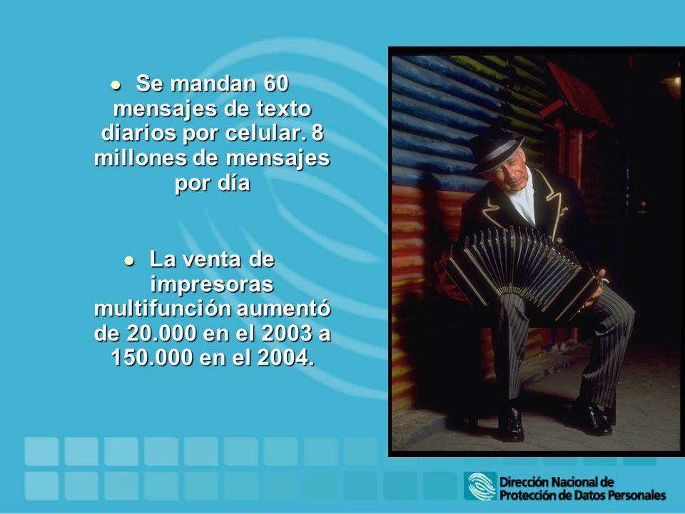 Se mandan 60 mensajes de texto diarios por celular. 8 millones de mensajes por día Se mandan 60 mensajes de texto diarios por celular. 8 millones de m