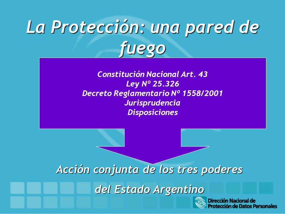 La Protección: una pared de fuego Acción conjunta de los tres poderes del Estado Argentino Constitución Nacional Art. 43 Ley Nº 25.326 Decreto Reglame