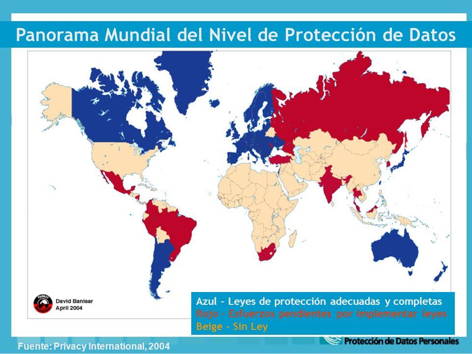 Panorama Mundial del Nivel de Protección de Datos Azul – Leyes de protección adecuadas y completas Rojo – Esfuerzos pendientes por implementar leyes Beige – Sin Ley Fuente: Privacy International, 2004