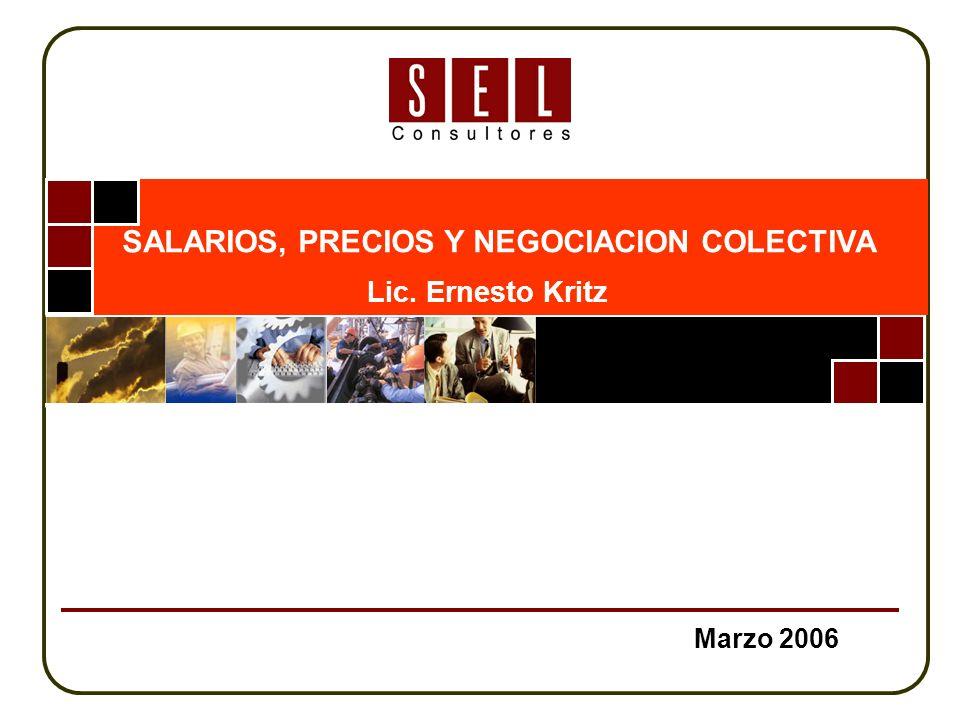 Marzo 2006 SALARIOS, PRECIOS Y NEGOCIACION COLECTIVA Lic. Ernesto Kritz