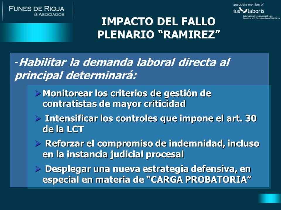 IMPACTO DEL FALLO PLENARIO RAMIREZ -Habilitar la demanda laboral directa al principal determinará: Monitorear los criterios de gestión de contratistas