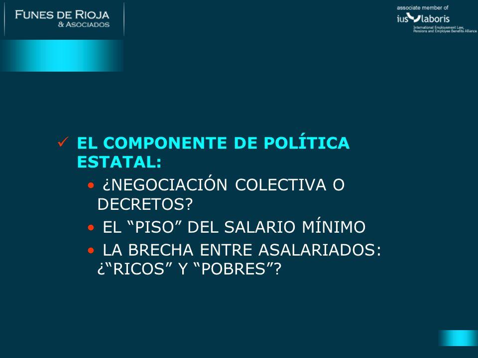 EL COMPONENTE DE POLÍTICA ESTATAL: ¿NEGOCIACIÓN COLECTIVA O DECRETOS? EL PISO DEL SALARIO MÍNIMO LA BRECHA ENTRE ASALARIADOS: ¿RICOS Y POBRES?