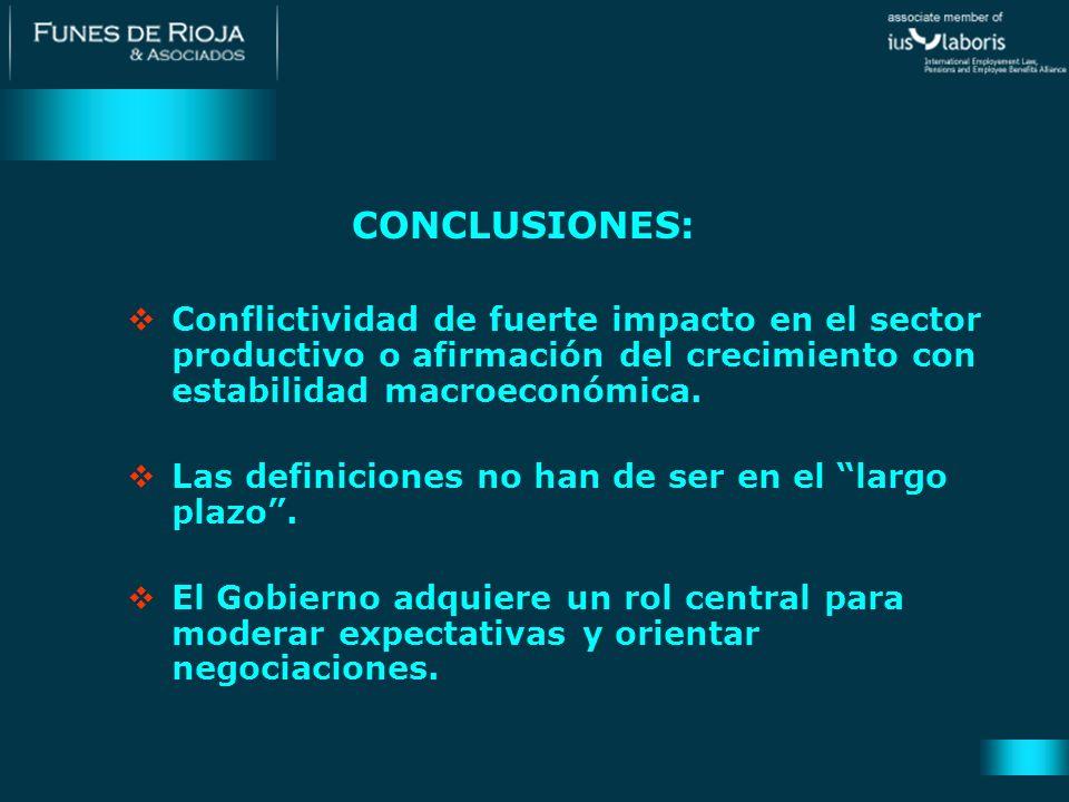 CONCLUSIONES: Conflictividad de fuerte impacto en el sector productivo o afirmación del crecimiento con estabilidad macroeconómica. Las definiciones n