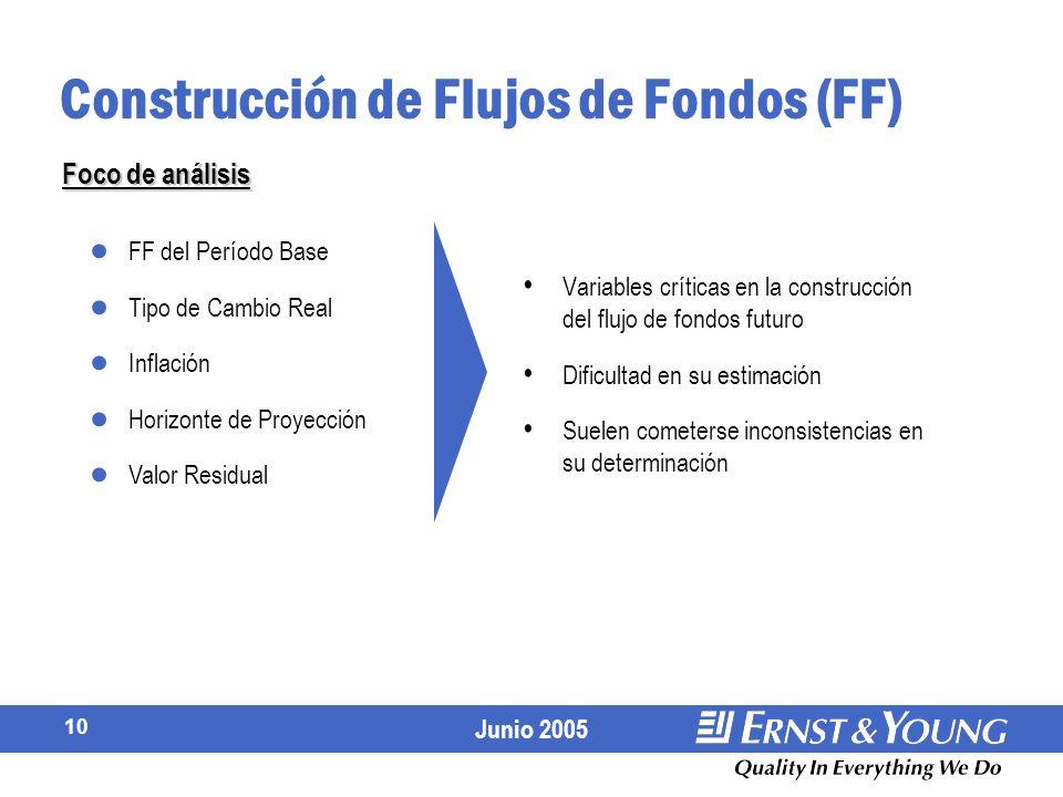 Junio 2005 10 Variables críticas en la construcción del flujo de fondos futuro Dificultad en su estimación Suelen cometerse inconsistencias en su determinación Construcción de Flujos de Fondos (FF) FF del Período Base Tipo de Cambio Real Inflación Horizonte de Proyección Valor Residual Foco de análisis