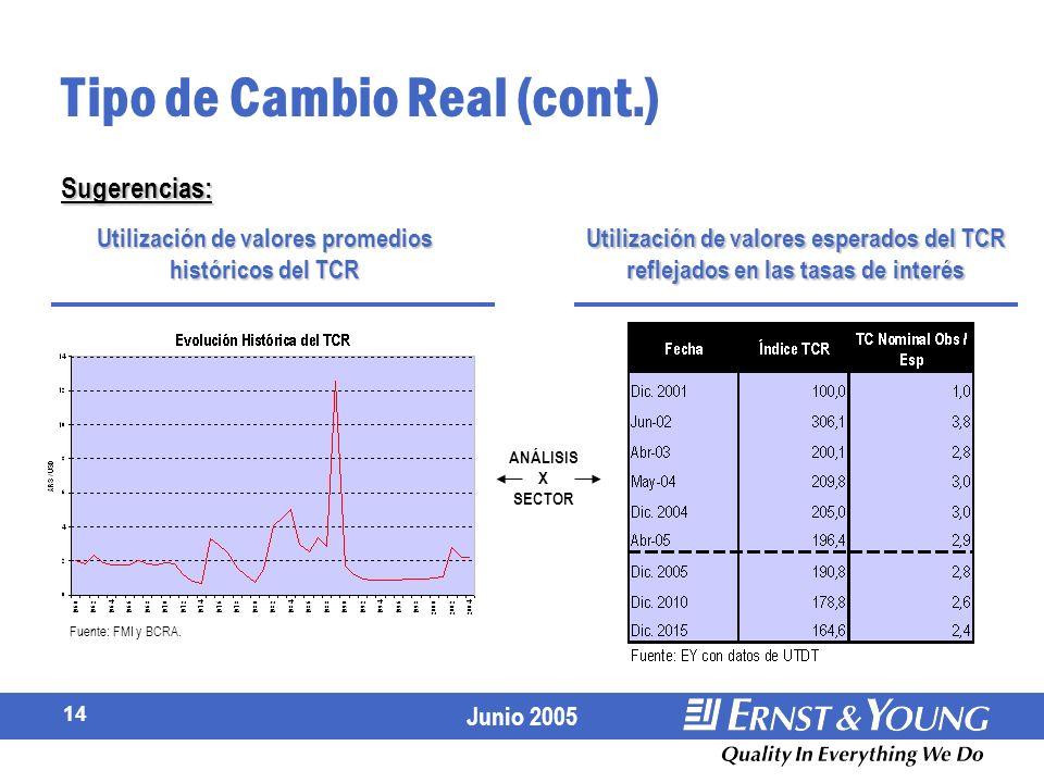 Junio 2005 14 Tipo de Cambio Real (cont.) Sugerencias: Utilización de valores esperados del TCR reflejados en las tasas de interés Utilización de valores promedios históricos del TCR Fuente: FMI y BCRA.