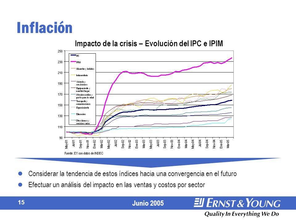 Junio 2005 15 Considerar la tendencia de estos índices hacia una convergencia en el futuro Efectuar un análisis del impacto en las ventas y costos por sector Inflación Impacto de la crisis – Evolución del IPC e IPIM