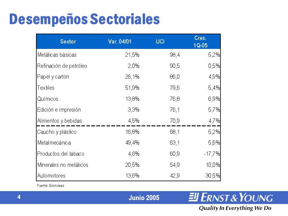 Junio 2005 4 Fuente: Econviews Desempeños Sectoriales