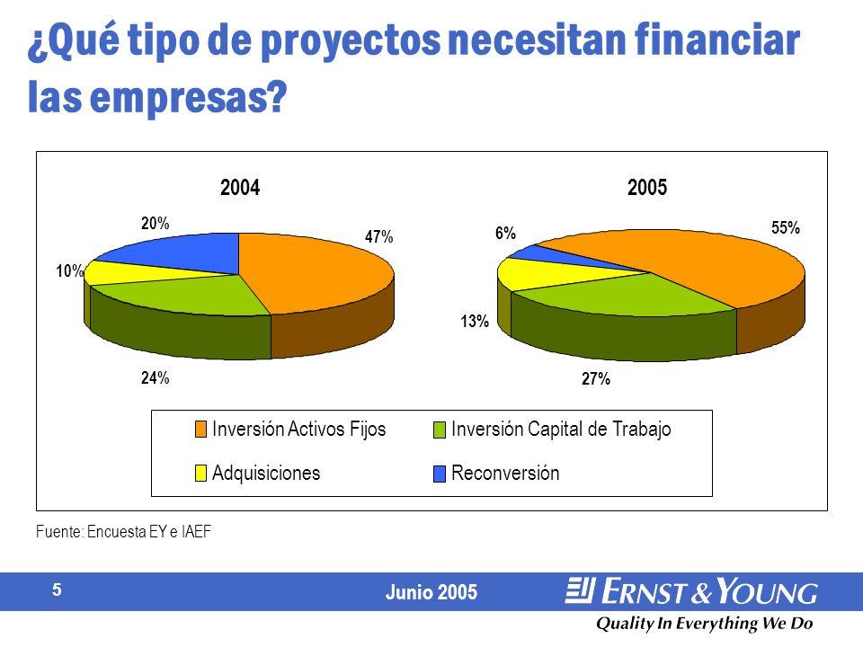 Junio 2005 5 ¿Qué tipo de proyectos necesitan financiar las empresas.