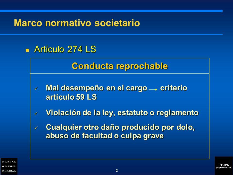 Artículo 274 LS Artículo 274 LS Mal desempeño en el cargo criterio artículo 59 LS Mal desempeño en el cargo criterio artículo 59 LS Violación de la ley, estatuto o reglamento Violación de la ley, estatuto o reglamento Cualquier otro daño producido por dolo, abuso de facultad o culpa grave Cualquier otro daño producido por dolo, abuso de facultad o culpa grave Marco normativo societario Conducta reprochable 2