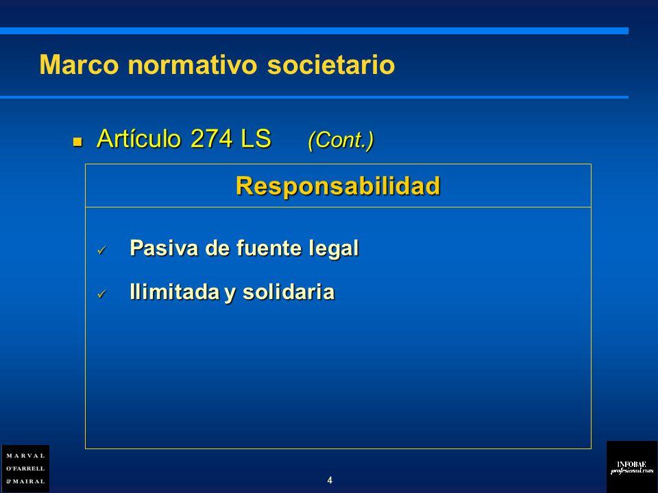 Artículo 274 LS (Cont.) Artículo 274 LS (Cont.) Pasiva de fuente legal Pasiva de fuente legal Ilimitada y solidaria Ilimitada y solidaria Marco normativo societario Responsabilidad 4