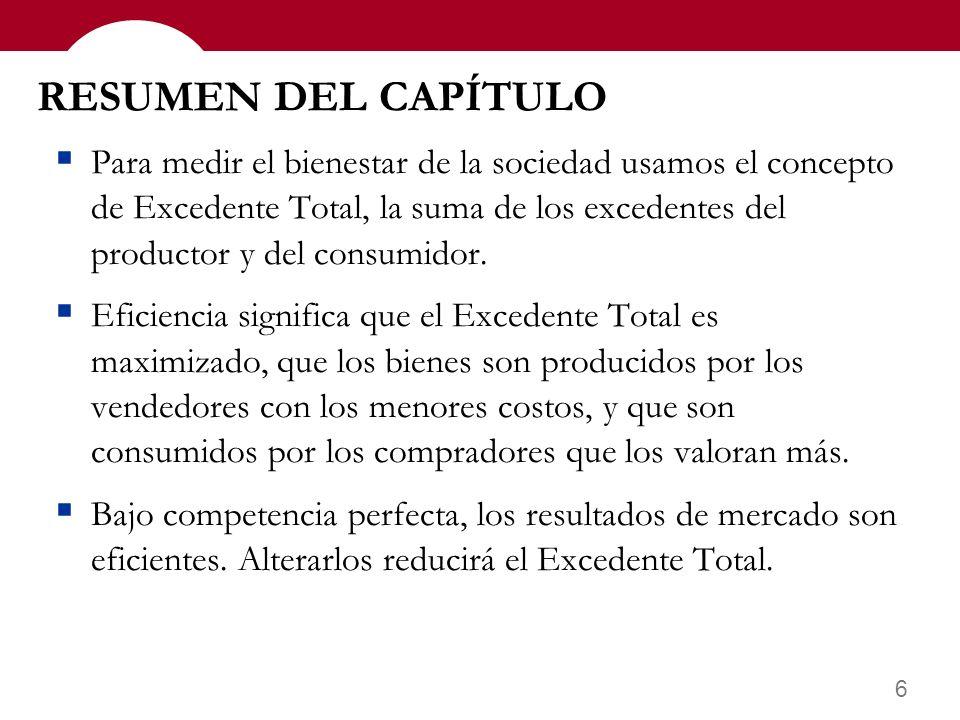 6 RESUMEN DEL CAPÍTULO Para medir el bienestar de la sociedad usamos el concepto de Excedente Total, la suma de los excedentes del productor y del consumidor.