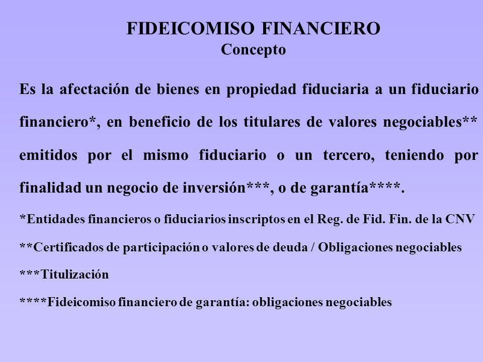FIDEICOMISO FINANCIERO Concepto Es la afectación de bienes en propiedad fiduciaria a un fiduciario financiero*, en beneficio de los titulares de valor