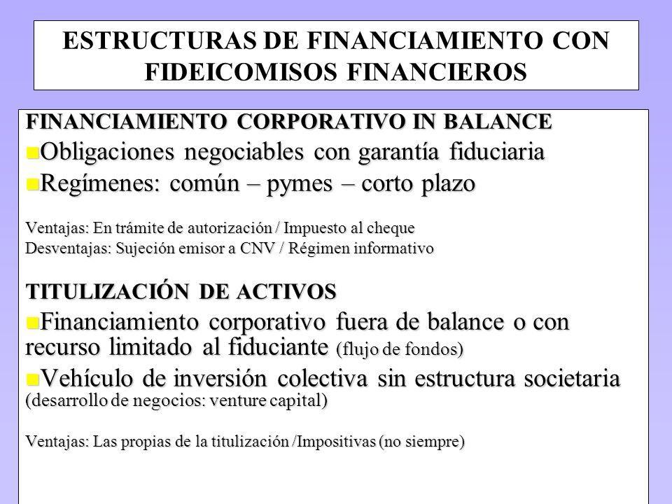 ESTRUCTURAS DE FINANCIAMIENTO CON FIDEICOMISOS FINANCIEROS FINANCIAMIENTO CORPORATIVO IN BALANCE n Obligaciones negociables con garantía fiduciaria n