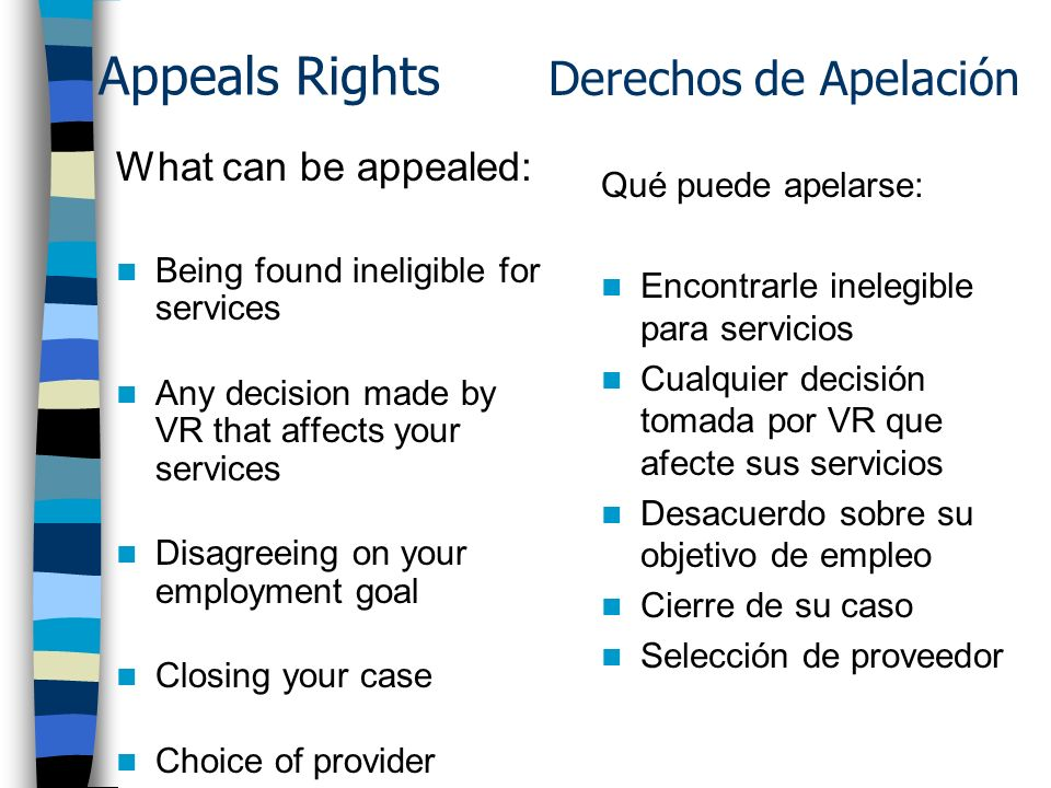 Appeals Rights What can be appealed: Being found ineligible for services Any decision made by VR that affects your services Disagreeing on your employment goal Closing your case Choice of provider Qué puede apelarse: Encontrarle inelegible para servicios Cualquier decisión tomada por VR que afecte sus servicios Desacuerdo sobre su objetivo de empleo Cierre de su caso Selección de proveedor Derechos de Apelación
